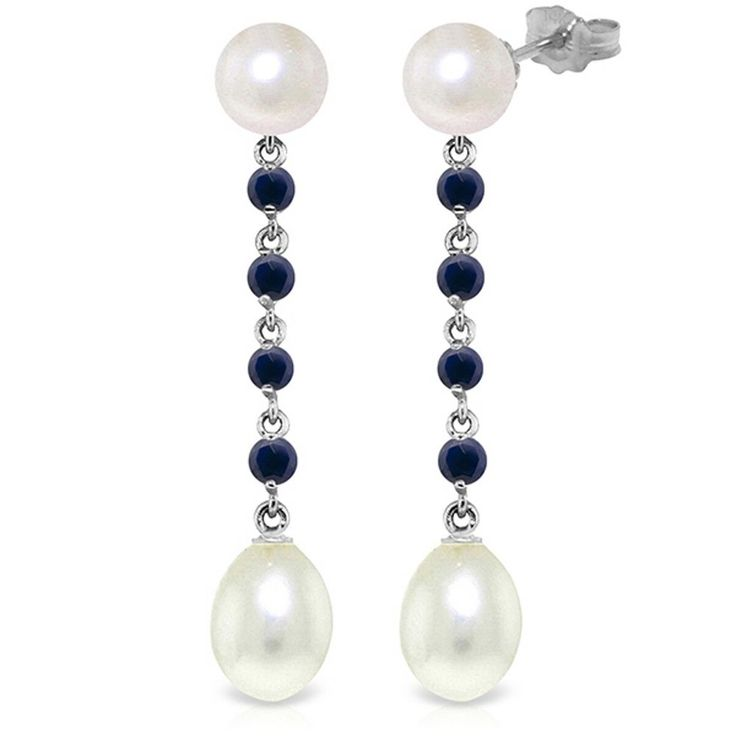 14K Solid White Gold 11 Carat Natural Pearl Sapphire Earrings Wt 4.20g H 1.78in #GalaxyGold #Chandelier