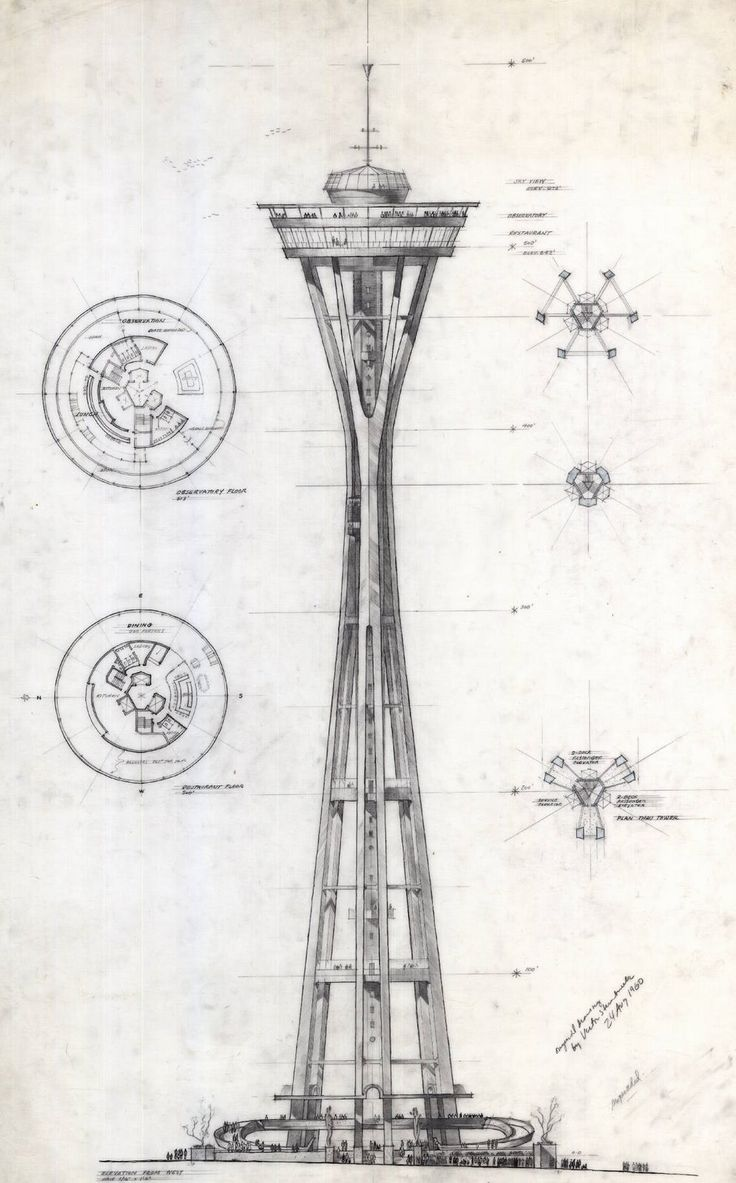 A preliminary sketch of the Space Needle by Victor Steinbrueck, who helped design the Space Needle for the 1962 World's Fair.