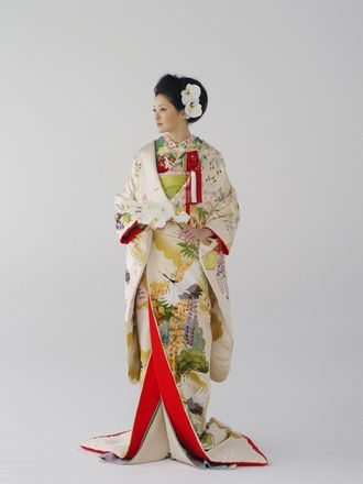 Beautiful Crane Printed Uchikake with Red Lining