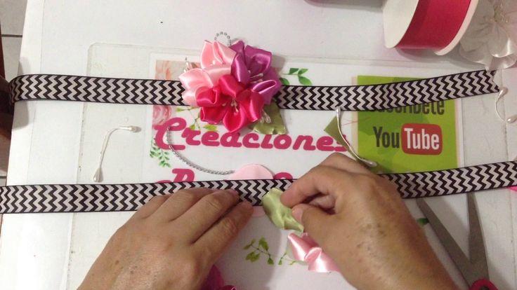 Dos flores fáciles de listón satinado  VIDEO No.469 creacionesrosaisela