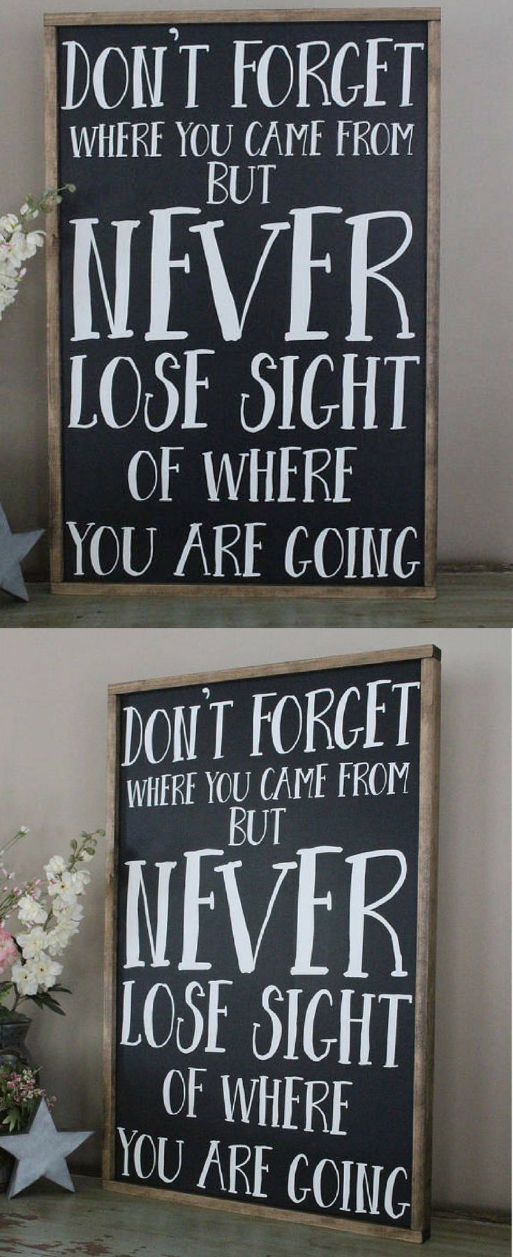 So true - something we all need to remember!  Would be great for a gift! Don't Forget Where You Came From But Never Lose Sight of Where You Are Going Framed Wood Sign, Inspirational sign, Farmhouse sign, Farmhouse decor, Rustic decor, Rustic sign, gift idea #ad