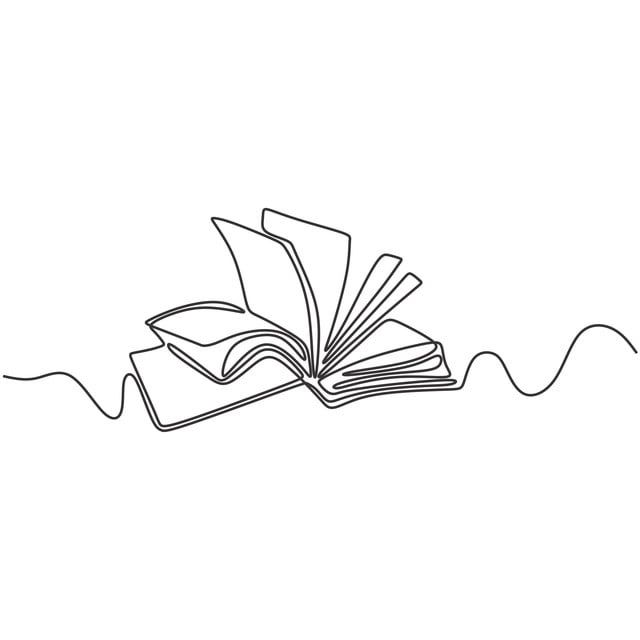 Vector Continuous Line Drawing Of Book Educational Idea Concept
