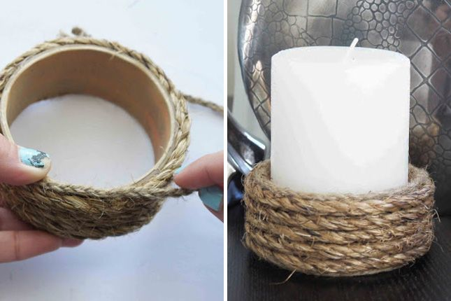 Rope Wrapped Candle Holder: Add a rustic feel to your home decor with this DIY. What was once a cardboard core of painters tape is now a beautiful candle holder thanks to rope wrapping. Mind—blown!