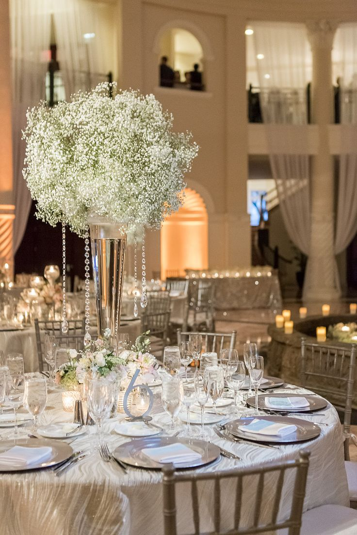 sophisticated baby's breath and crystal centerpieces / event design by JCG Events / flowers by Ines Naftali / photo by 1313photography.com