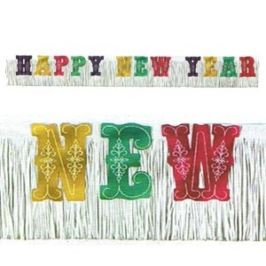 """Multi-Colour New Year Banner (20""""x15'). White crepe with glittered multi-colour letters."""