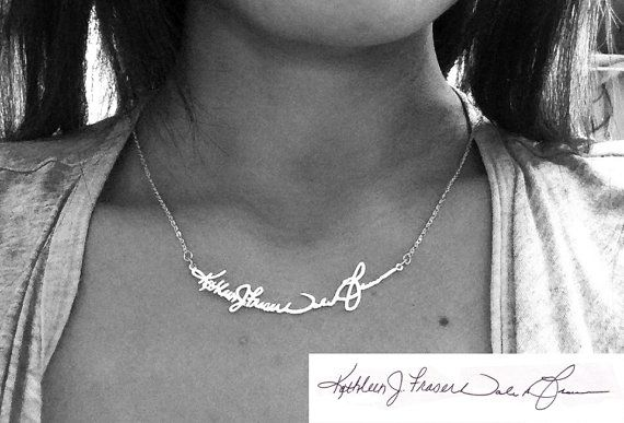 Personal Signature Necklace - Sterling Silver - Hand Writing/ Memorial Note Necklace - Any Language, Any Symbol is Possible