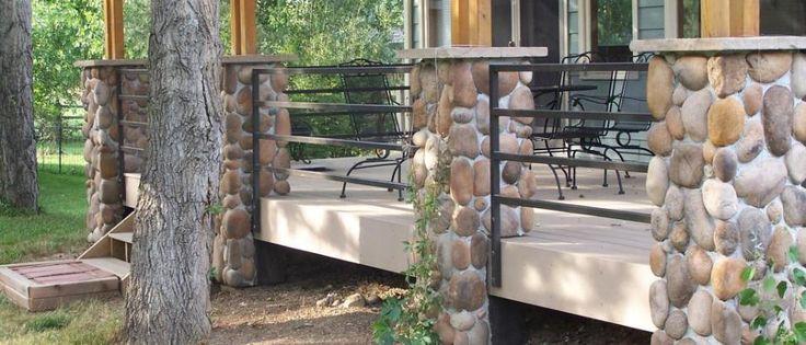 River Rock veneer in porch column application