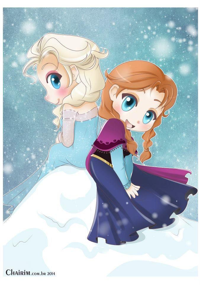 Elsa and Anna Chibi by Chairim Arrais