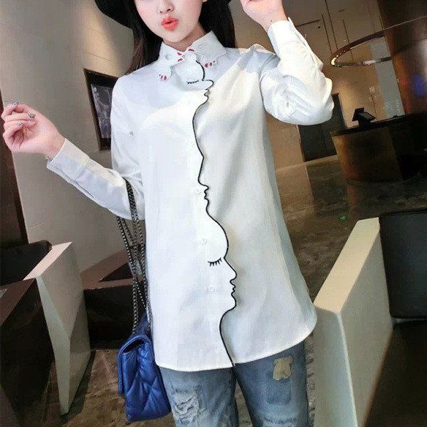 Novelty Face Placket Finger Collar Embroidery Long Sleeve Women Blouse