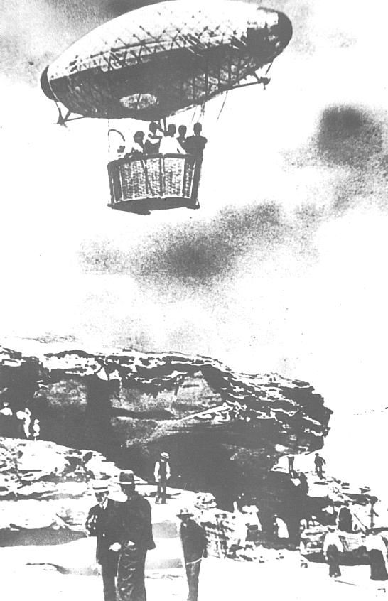 Bondi Aquarium Photo, showing the 'Airem Scarem' (a captive airship that tracked on a wire from cliff to cliff by electricity) over Tamarama Wonderland City
