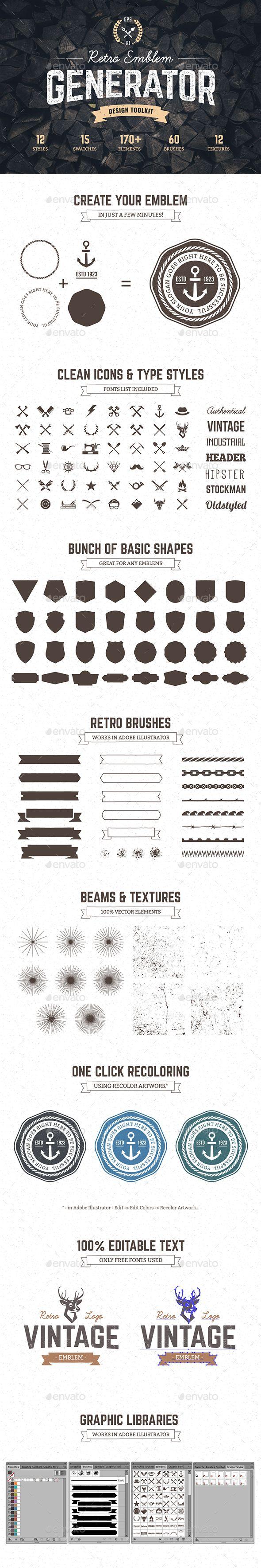 Logo Maker | Retro Emblem Generator - Decorative Symbols Decorative
