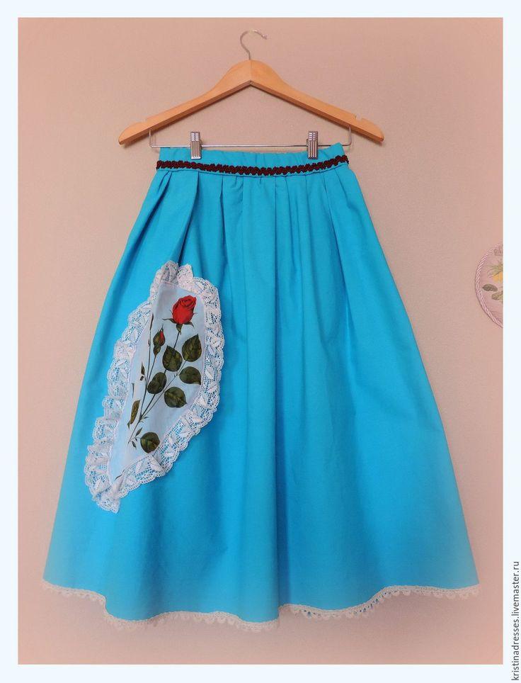"""Купить Юбка из хлопка в бирюзовом цвете """"Гербарий"""" - рисунок, бирюзовый, юбка, юбка хлопок, кружево"""
