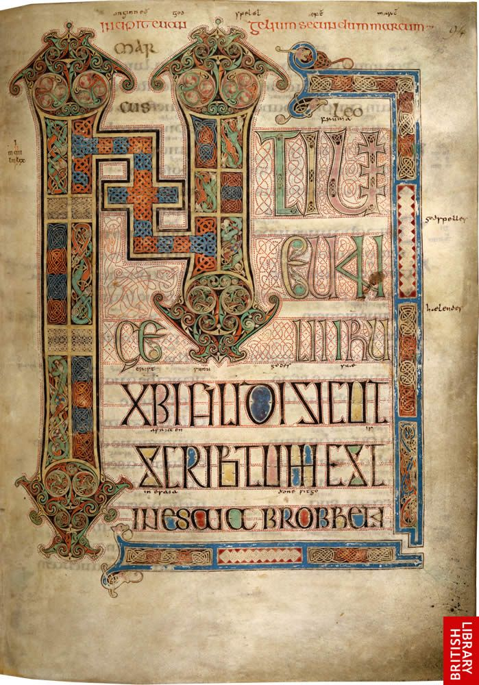 """Incipit page (initiium...) of the Gospel of St Mark ..."