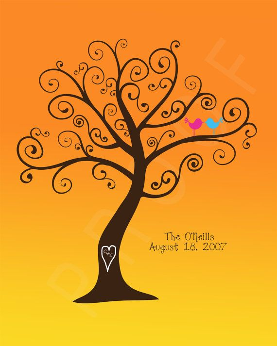 Personalized Family Tree  Birds in a Sunset by penguinpapyrus, $18.00 love the swirly branches