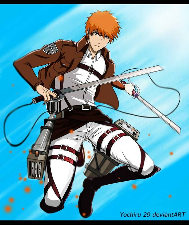 bleach attack on titan crossover. Ahaha, the funny part about this is that Ichigo would probably do it, too....