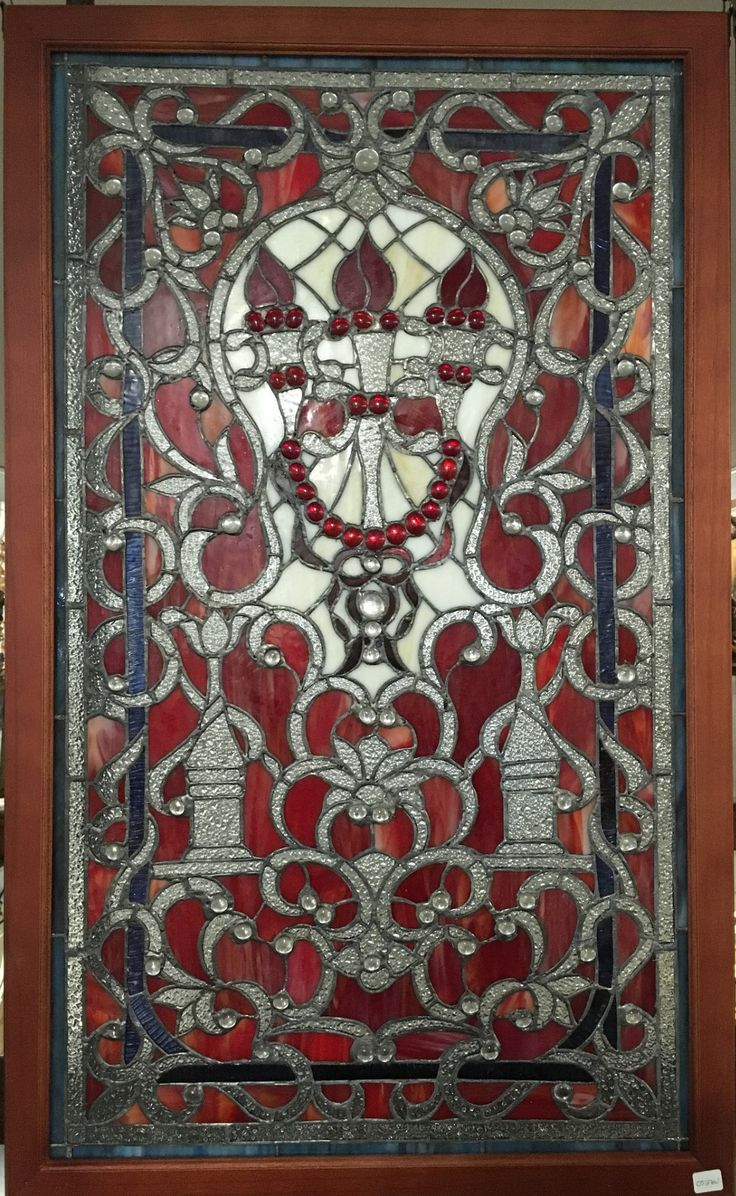 Franklin art glass studios inc clear cotswold glass 3 320 - Glass Window Stained Leaded Wood Frame 3 Torch Design
