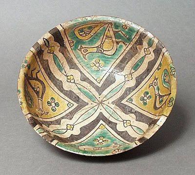 Bowl Iran, Nishapur Bowl, 10th century Ceramic; Vessel, Earthenware, buff slip, underglaze slip-painted