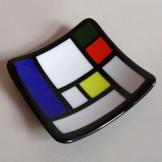 Fused glass bowl - Mondrian style design on Etsy, $34.00