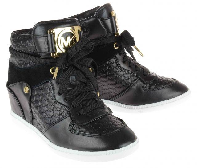 Nikko by Michael Kors  Hi-Top Black Sneakers  Embossed Black Leather and Gold