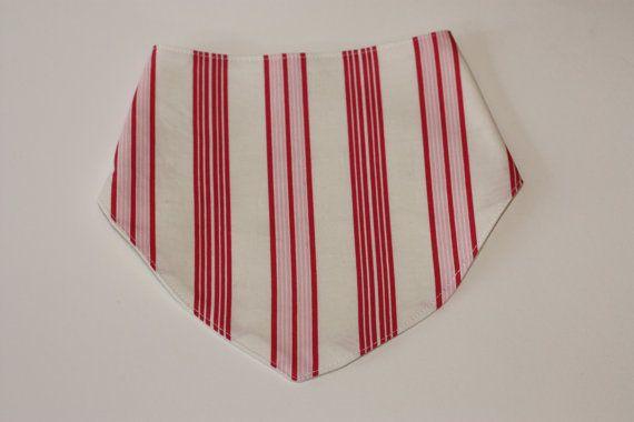 SALE  Bandana Bib  Pink & White Stripes  by RainbowSparklesBlue