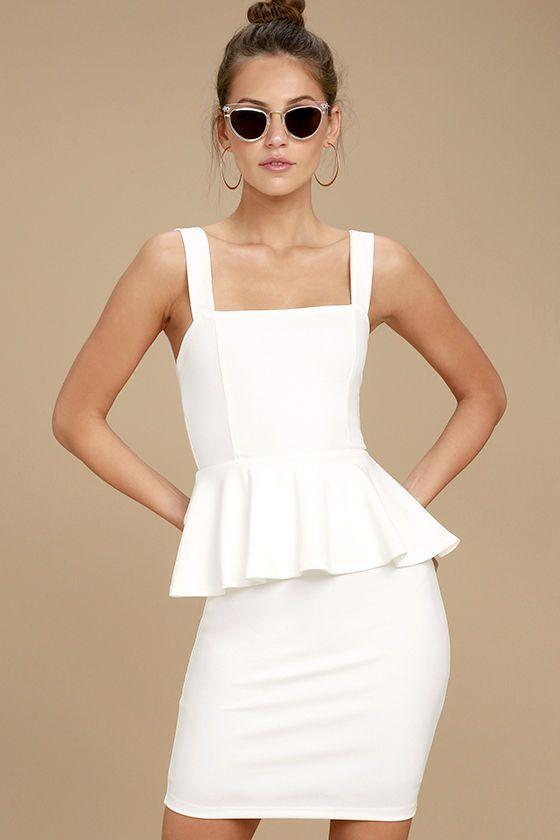 44cf27ca8a1 One More Kiss White Peplum Dress