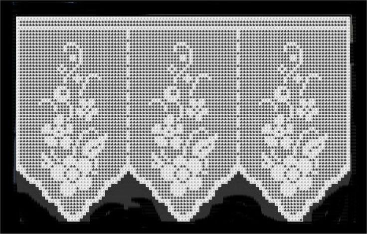 Flower short crochet curtain, filet work ♥LCC-MRS♥ with diagram