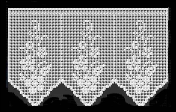 Flower short crochet curtain, filet work ♥LCC-MRS♥ with diagram