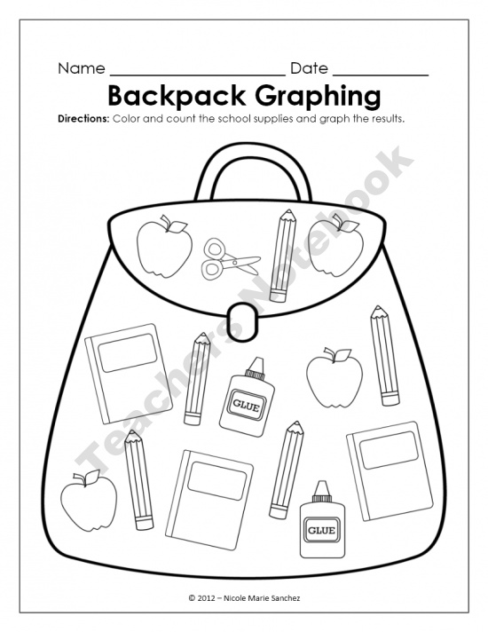 Kindergarten Common Core Math Activity - September Backpack Graph product from NicoleAndEliceo on TeachersNotebook.com