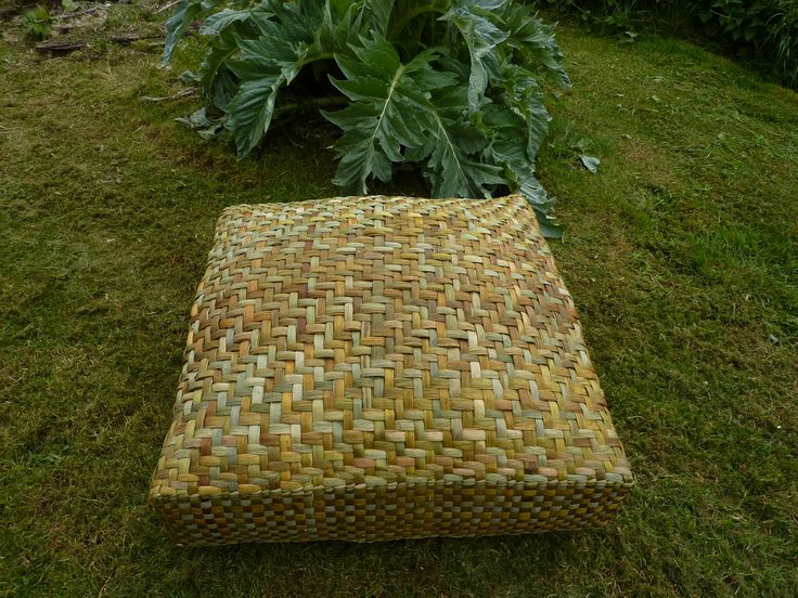 Large outdoor floor cushion handwoven in twill weave from English bulrush. Stuffed with rush.