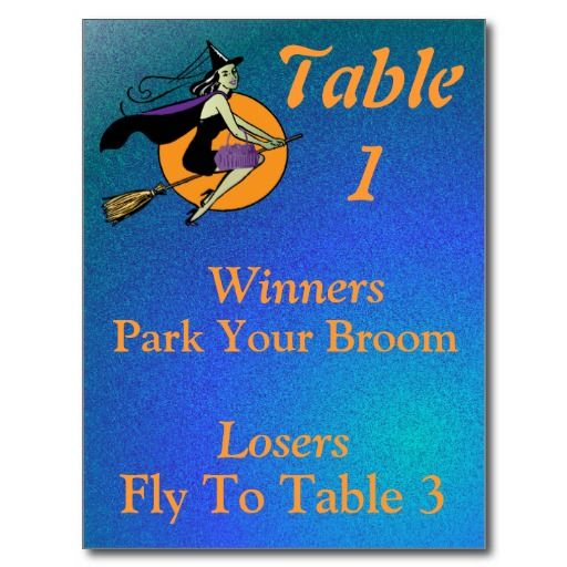 """Witch"" table do you fly to for Halloween Bunco?  Fun and creative table cards by www.zazzle.com/artinspired*."