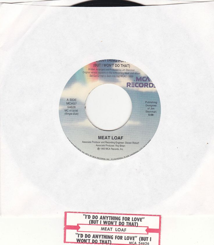 """Meat Loaf / I'd Do Anything For Love But I Won't Do That / 7"""" Vinyl 45 RPM Record & Jukebox Strip #Meatloaf #Music"""