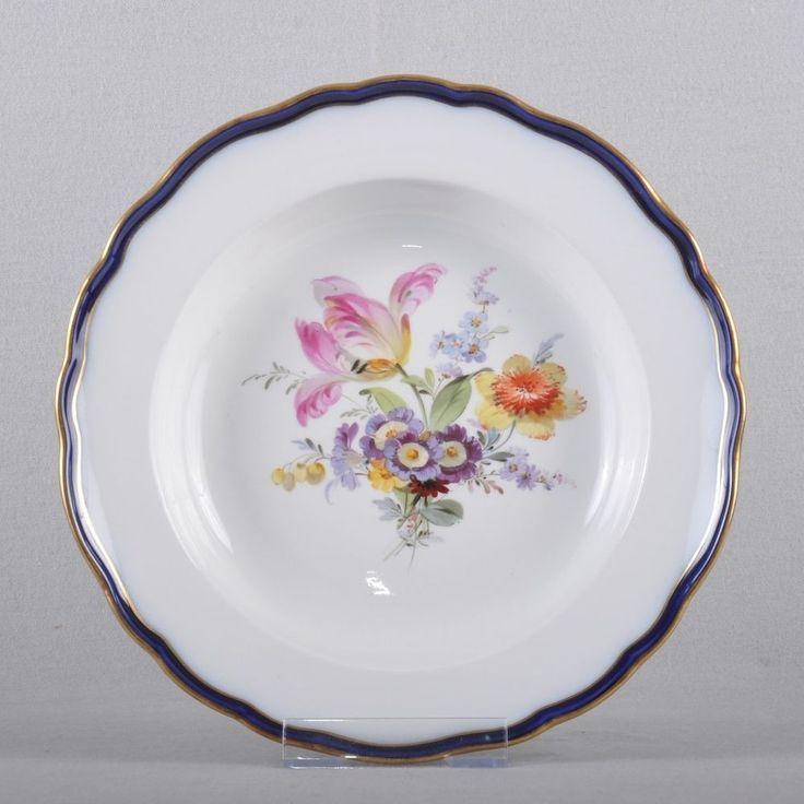 Meissen Fiori Bouquet, cobalto, piatto fondo zuppa, 1a scelta, 1V3