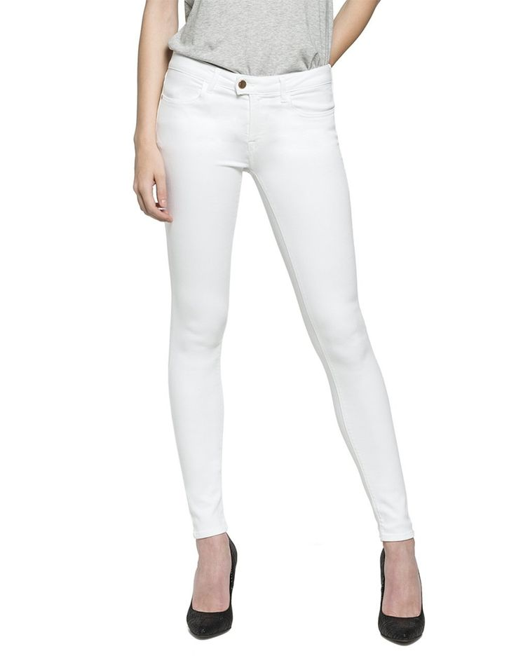 Replay Women's Women's Optical White Skinny Fit Jeans in Size 28 W 30 L White