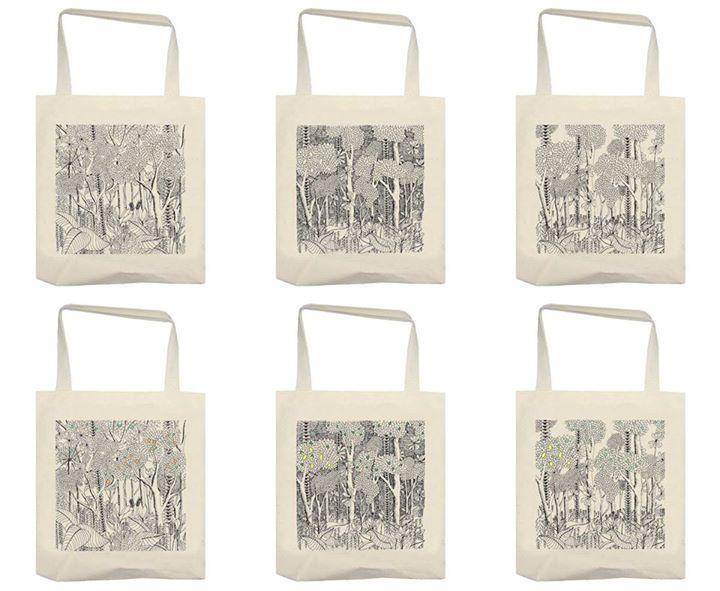 tote bag motif dessin jungle illustrations réalisées au #rotring Pour ceux qui aimes la #nature, la #végétation Inspiration #tropical, #blackandwhite, #forest, #totebagcustom, #totebag #design