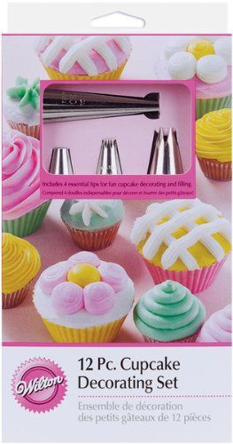 http://yummycakedecorating.com/wilton-2104-6667-12-piece-cupcake-decorating-set/ Make cupcakes exciting and fun with 4 versatile tips. Get ready to create novel designs for everyday treats using Star Tips 1M and 22, Round Tip 12 and Bismarck Tip 230.
