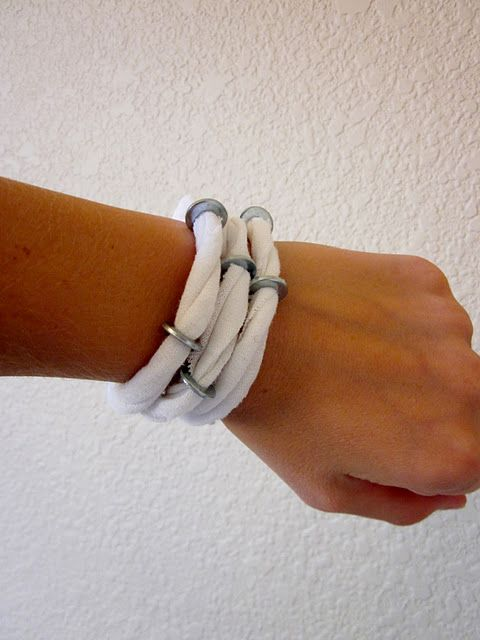 T-Shirt/Washer Bracelet! How unique!
