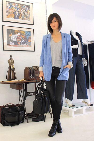 Love how denim match with grey and black. #fashion #denim