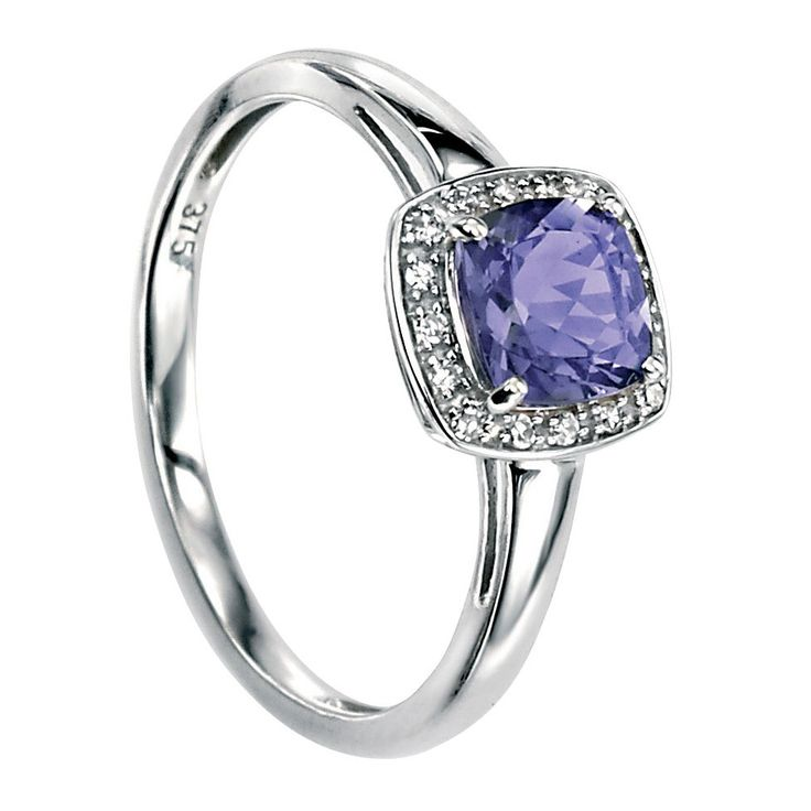 Hallmarked 9ct White Gold Ring with Cushion Cut Lolite with Pave Diamonds - This elegantly designed ring from the Elements Gold collection is expertly crafted from hallmarked 9ct white gold and purplish blue iolite in an enchanting and everlasting style, with rhodium plating for extra protection against tarnishing: http://ow.ly/Xy7W4