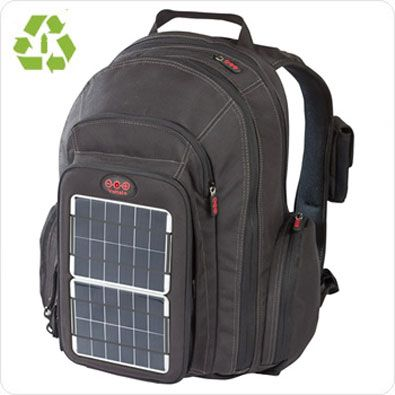 Solar Backpack - charges laptops, phone and the grid can be removed to attach to other bags. Get charged while hiking or exploring a city. We like it!