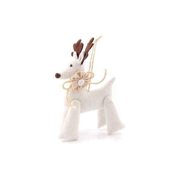 Handmade Christmas tree decoration, white/cream reindeer with flower | It's all about Christmas