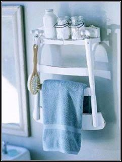 Nifty shelf made from old chair back.