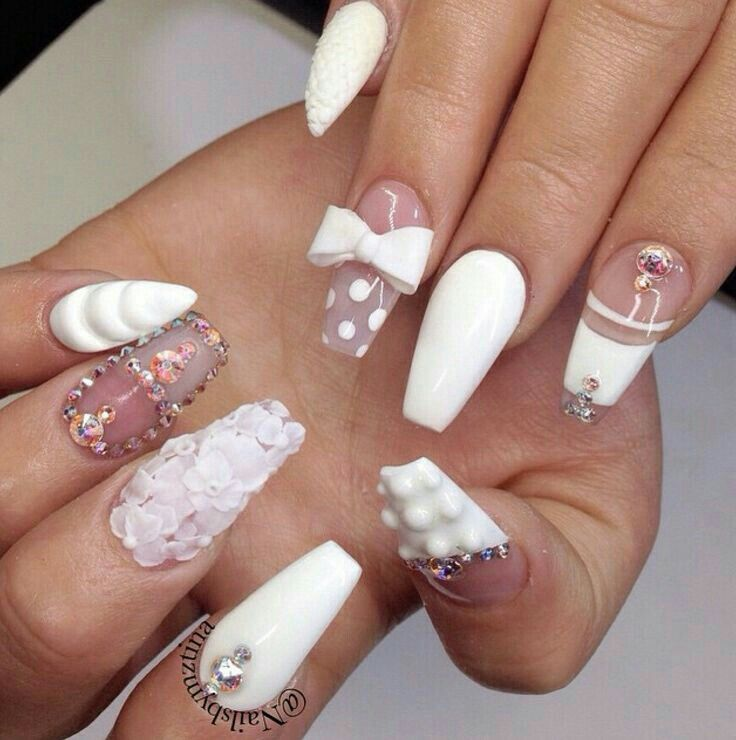 white coffin nails with 3d flowers nails extra
