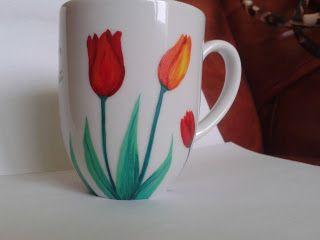 Lalele rosi si portocali / Red and orange tulips - cana pictata manual / handmade painted mug ___* pret: 30 lei / price: 6 euro