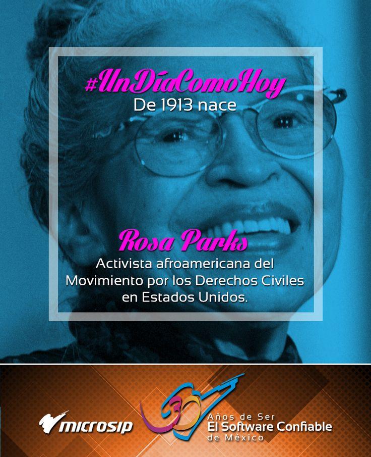 #UnDíaComoHoy 4 de febrero pero de 1913 nace Rosa Parks, activista afroamericana del Movimiento por los Derechos Civiles en Estados Unidos.