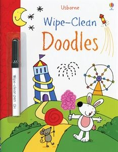 Wipe-clean pages mean kids can doodle again and again!  Any dry erase marker will work, so it's OK if you misplace the one that comes with the book.  :-) Usborne Books & More. Wipe-Clean Doodles