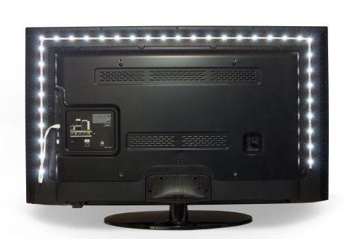 $17 - Luminoodle Bias Lighting for HDTV - USB LED Backlight Bright Normal White Strip for Flat Screen TV LCD, Desktop Monitors
