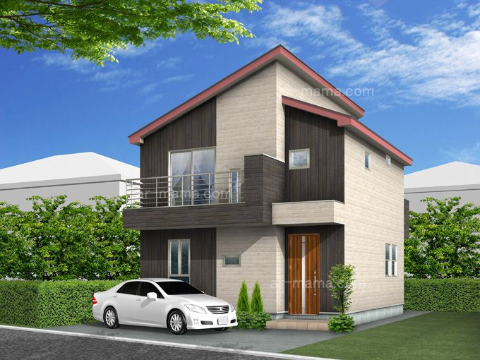 2階建木造住宅外観パース 住宅 外観 家 外観 建築パース