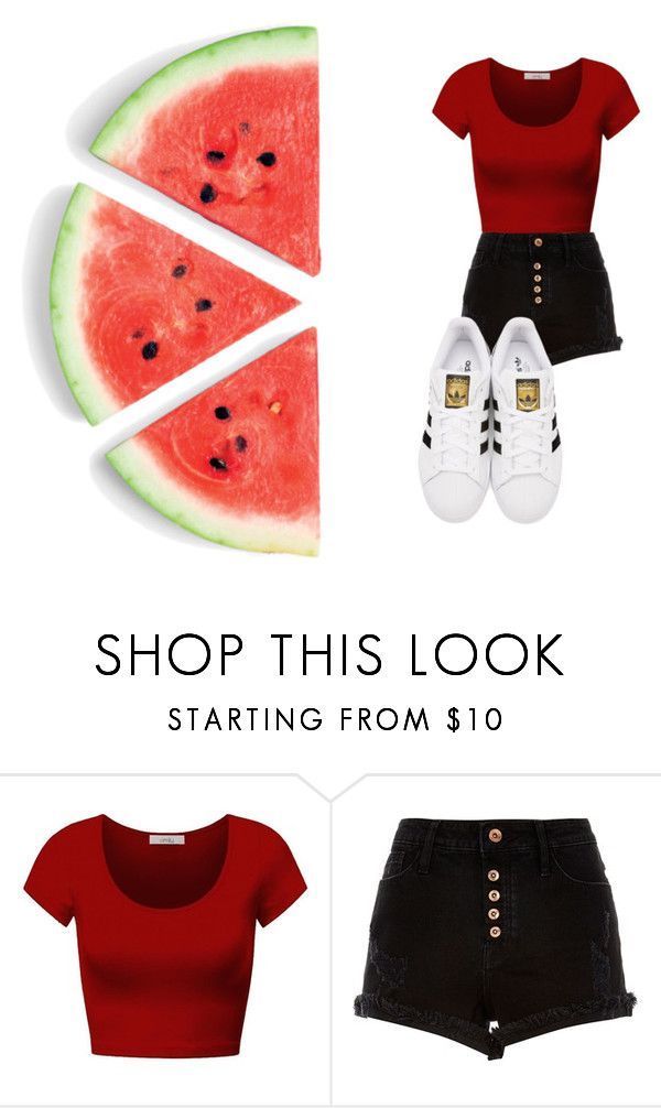 """melancia"" by carolinaborgasimoes on Polyvore featuring beauty, DK, River Island and adidas Originals"