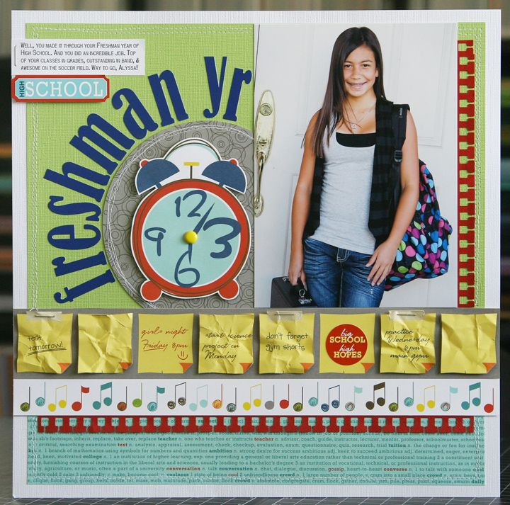 School scrapbook layout....love the post it notes.  Would be great to have child's own writing with little important things like favorite subject, best friend ...