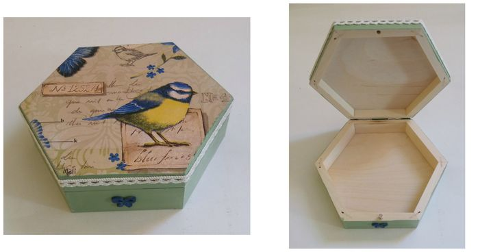 Wooden hexagon box for necklaces.